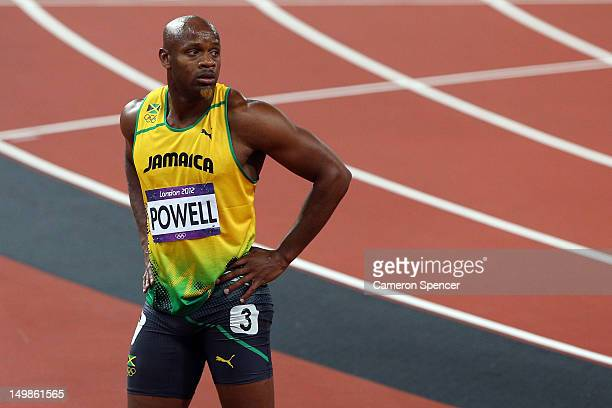 Asafa Powell of Jamaica looks on after the Men's 100m Final on Day 9 of the London 2012 Olympic Games at the Olympic Stadium on August 5 2012 in...