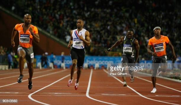 Asafa Powell of Jamaica takes the victory ahead of Tyson Gay of USA in the Mens 100m during the IAAF Golden League Memorial Van Damme meet at the...