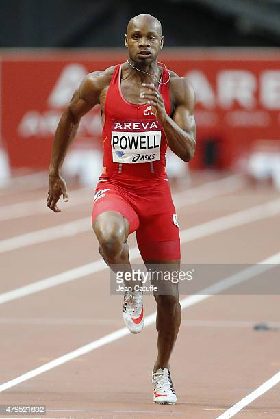 Asafa Powell of Jamaica wins the men's 100m during the Meeting AREVA of the IAAF Diamond League 2015 held at Stade de France on July 4 2015 in...