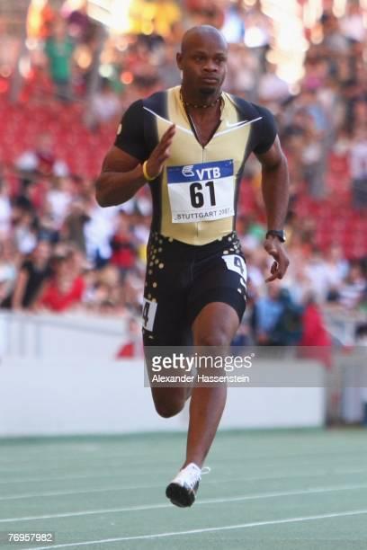 Asafa Powell of Jamaika wins the mens 100 metres competition during the first day of the IAAF World Athletics Final 2007 at the...
