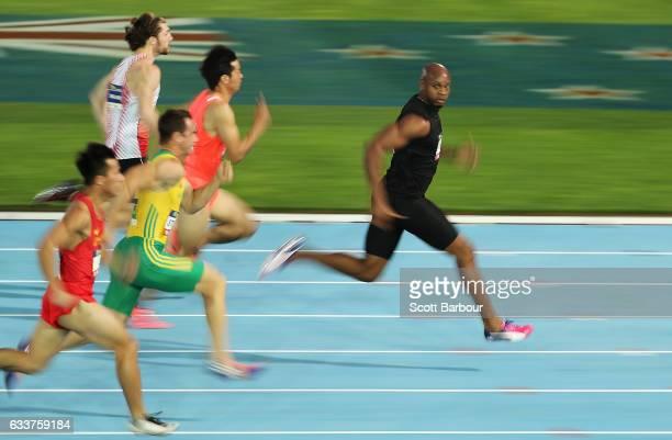 Asafa Powell of of Usain Bolt's AllStar team runs and wins the Men's 60 Metre race during Nitro Athletics at Lakeside Stadium on February 4 2017 in...