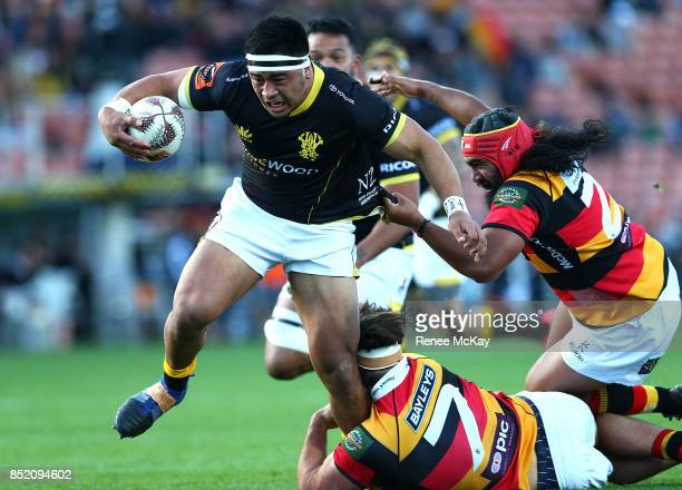 Asafo Aumua in action for Wellington during the round six Mitre 10 Cup match between Waikato and Wellington at FMG Stadium on September 23 2017 in...
