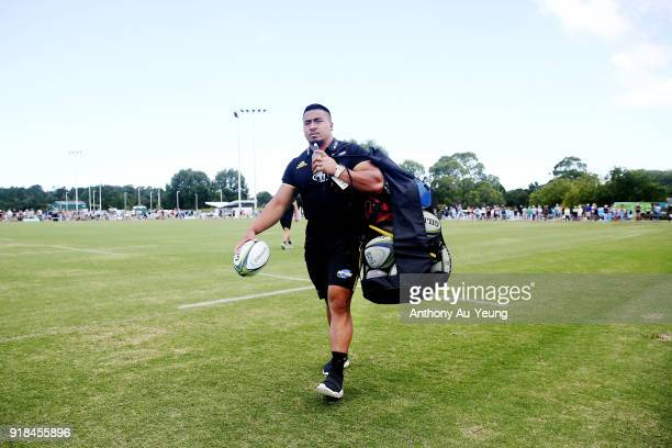 Asafo Aumua of the Hurricanes walks off the field following the warm up session ahead of the Super Rugby trial match between the Blues and the...