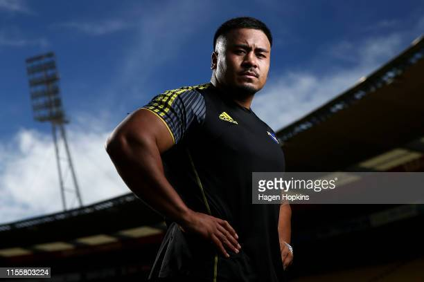 Asafo Aumua poses during a Hurricanes Super Rugby captain's run at Westpac Stadium on June 14, 2019 in Wellington, New Zealand.