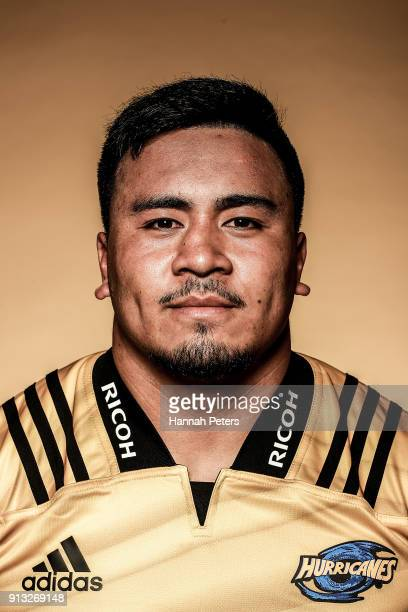 Asafo Aumua poses during the Wellington Hurricanes 2018 Super Rugby headshots session on January 22 2017 in Auckland New Zealand