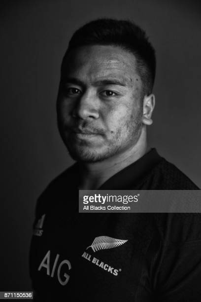 Asafo Aumua poses for a portrait during the New Zealand All Blacks headshots session at L'Hotel du Collectionneur on November 6 2017 in Paris France