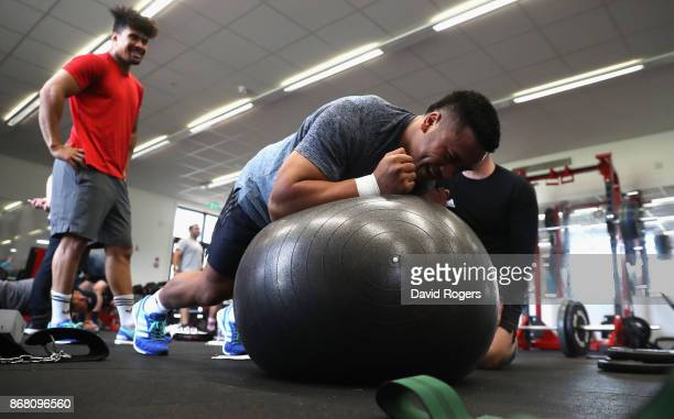 Asafo Aumua takes part in the New Zealand All Blacks gym session at the Lensbury on October 30 2017 in London England