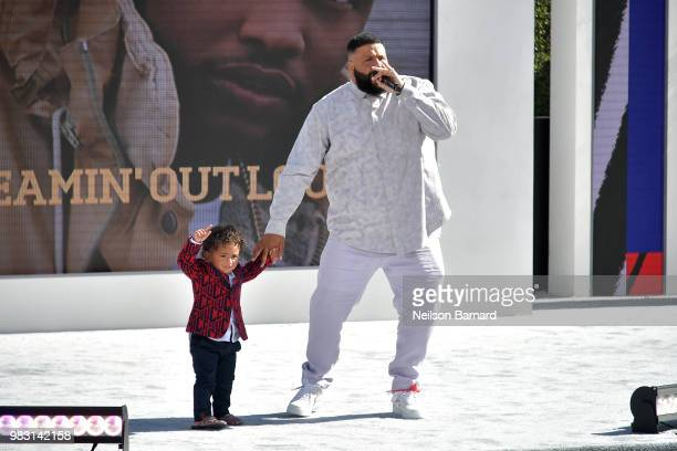 Asahd Tuck Khaled and DJ Khaled perform onstage at Live Red Ready PreShow sponsored by Nissan at the 2018 BET Awards at Microsoft Theater on June 24...