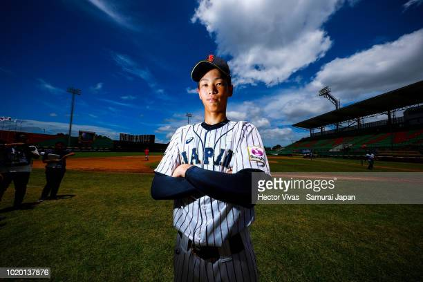 Asahi Hanada of Japan poses during the WBSC U15 World Cup Super Round match between Chinese Taipei and Japan at Estadio Kenny Serracin on August 16...