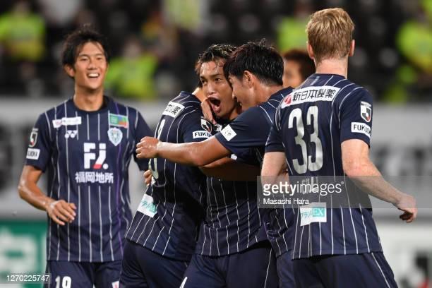 Asahi Masuyama of Avispa Fukuoka celebrates the first goal during the J.League Meiji Yasuda J2 match between JEF United Chiba and Avispa Fukuoka at...