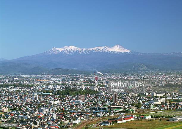 Asahikawa city view and Mount Daisetsu