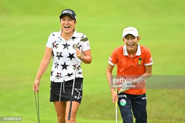 Asako Fujimoto and Kumiko Kaneda of Japan share a laugh on the 1st hole during the practice round of the Chukyo TV Bridgestone Ladies Open at Chukyo...