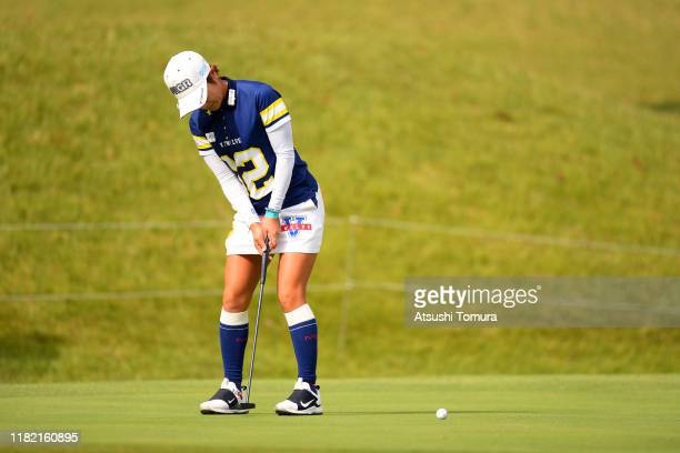 Asako Fujimoto of Japan attempts a putt on the on the 10th green during the final round of Fujitsu Ladies at Tokyu Seven Hundred Club on October 20...