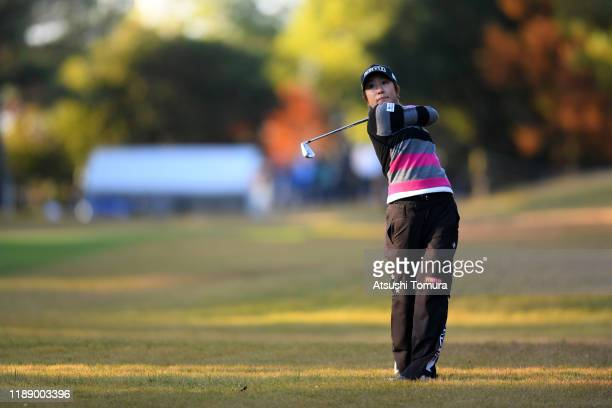 Asako Fujimoto of Japan hits her second shot on the 10th hole during the first round of the Daio Paper Elleair Ladies at Elleair Golf Club Matsuyama...