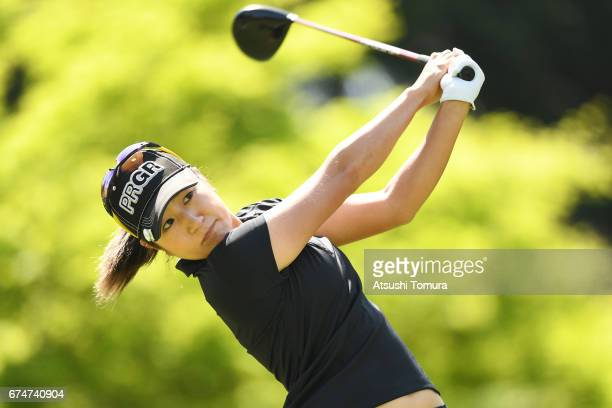 Asako Fujimoto of Japan hits her tee shot on the 2nd hole during the second round of the CyberAgent Ladies Golf Tournament at the Grand Fields...