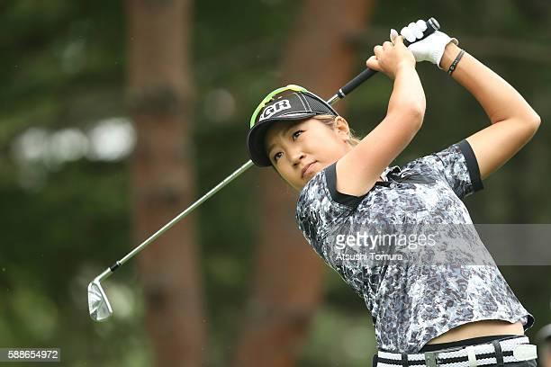 Asako Fujimoto of Japan hits her tee shot on the 3rd hole during the first round of the NEC Karuizawa 72 Golf Tournament 2016 at the Karuizawa 72...