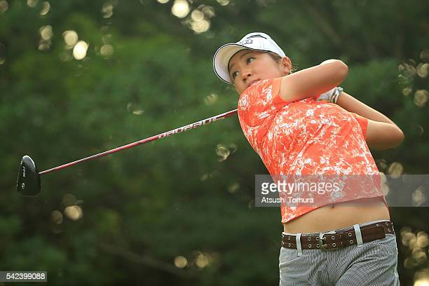 Asako Fujimoto of Japan hits her tee shot on the 8th hole during the first round of the Earth Mondamin Cup at the Camellia Hills Country Club on June...