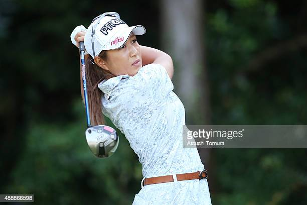 Asako Fujimoto of Japan hits her tee shot on the 9th hole during the first round of the Munsingwear Ladies Tokai Classic at the Shin Minami Aichi...