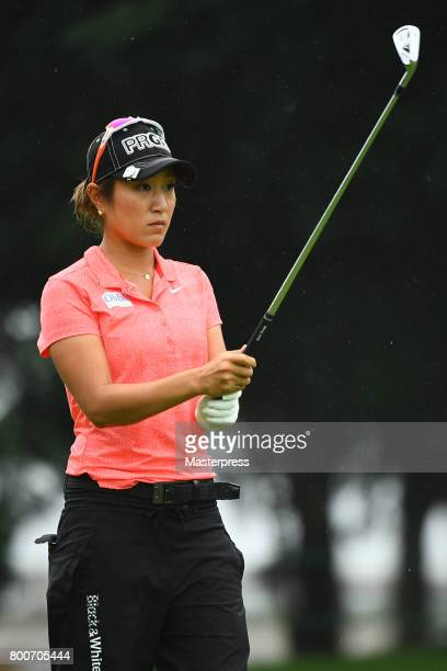Asako Fujimoto of Japan looks on during the final round of the Earth Mondamin Cup at the Camellia Hills Country Club on June 25 2017 in Sodegaura...
