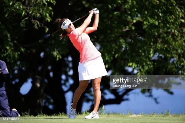 Asako Fujimoto of Japan plays a tee shot on the 14th hole during the final round of Fujisankei Ladies Classic at the Kawana Hotel Golf Course Fuji...