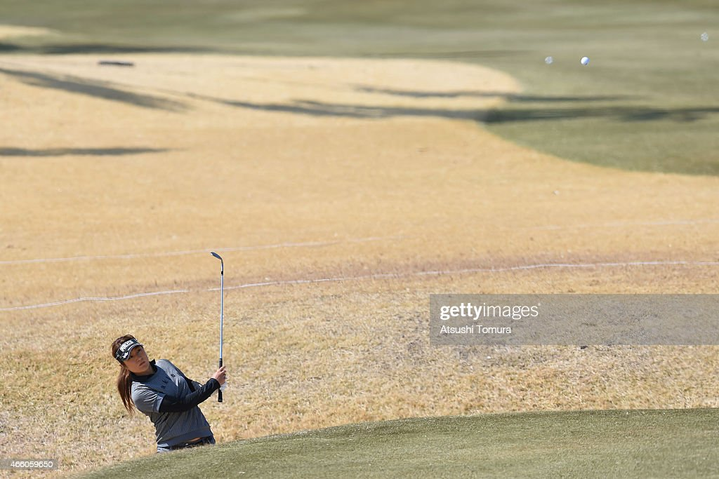 Asako Fujimoto of Japan plays from a banker on the 12th hole