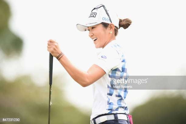 Asako Fujimoto of Japan reacts after her putt on the first green during the first round of the Munsingwear Ladies Tokai Classic 2017 at the Shin...