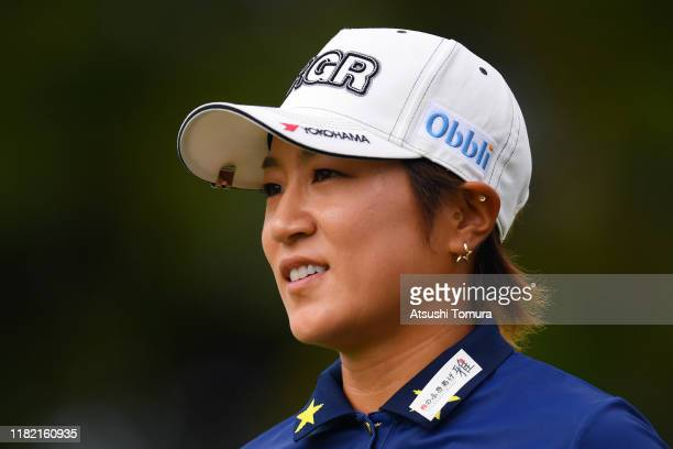 Asako Fujimoto of Japan reacts after her tee shot on the 11th hole during the final round of Fujitsu Ladies at Tokyu Seven Hundred Club on October 20...