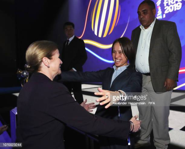 Asako Takakura coach of Japan greets Jill Ellis coach of the United States during the FIFA Women's World Cup France 2019 Draw at La Seine Musicale on...