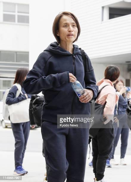 Asako Takakura coach of the Japan women's football team arrives in Rennes France on June 11 ahead of a Women's World Cup Group D match against...