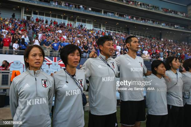 Asako Takakura head coach / manager of Japan and her coaching staff during the 2018 Tournament Of Nations women's match between Japan v United States...