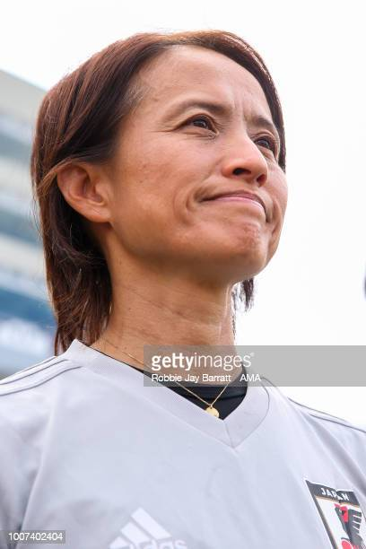 Asako Takakura head coach / manager of Japan during the Tournament of Nations match between Japan and Brazil at Pratt Whitney Stadium on July 29 2018...