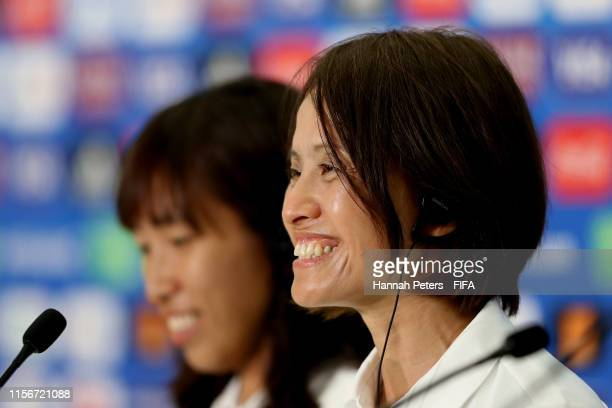 Asako Takakura head coach of Japan and Emi Nakajima of Japan speak to the media during a press conference at Stade de Nice on June 18 2019 in Nice...