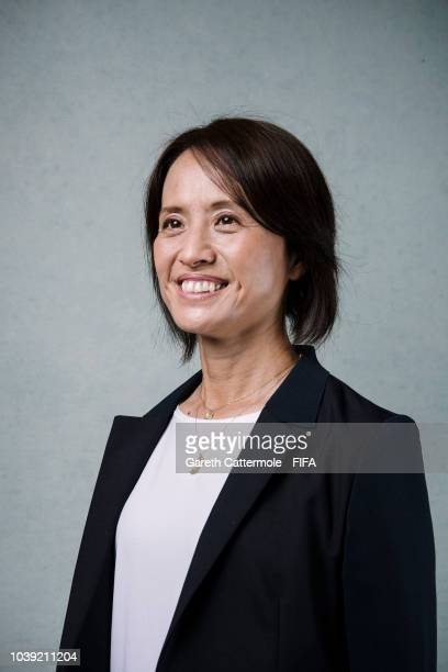Asako Takakura manager of the Japanese Women's national team poses for a portrait prior to The Best FIFA Football Awards at London Marriott Hotel...