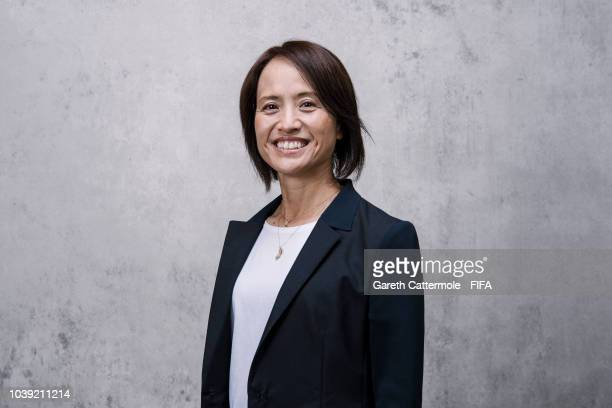 Asako Takakura, manager of the Japanese Women's national team poses for a portrait prior to The Best FIFA Football Awards at London Marriott Hotel...