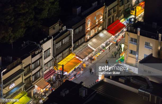 asakusa alley at night, tokyo, japan - 路地 ストックフォトと画像