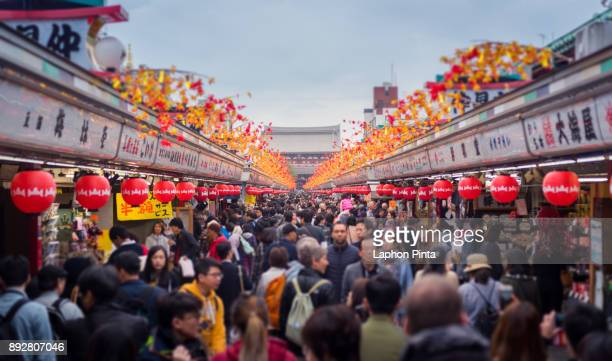 asakusa shopping street. tilt-shift effect - shrine stock pictures, royalty-free photos & images