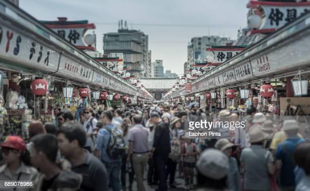 Asakusa walking street with many people and tourist