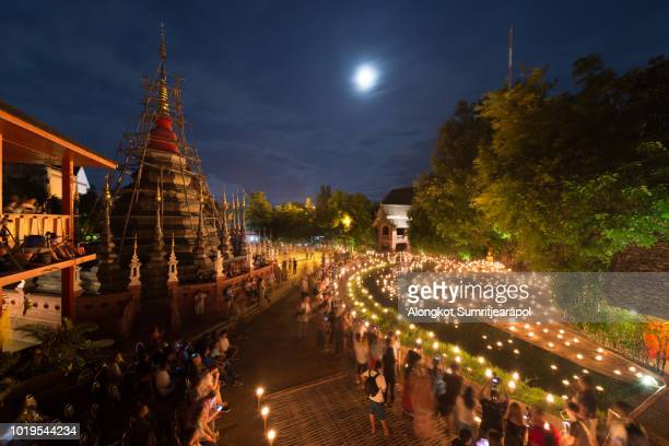 Asalha Puja Day annually at Wat Phan Tao temple, Chiangmai, Thailand.
