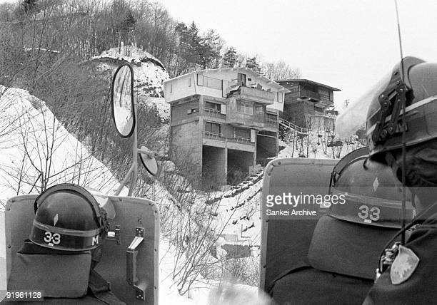 Asama Sanso lodge where five members of Coalition Red Army barricaded with a hostage is seen in February 1972 in Karuizawa Nagano Japan Police...