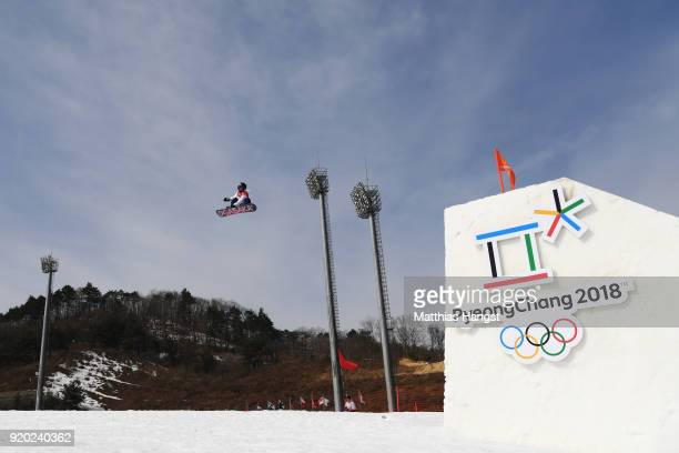 Asami Hirono of Japan competes during the Snowboard Ladies' Big Air Qualification on day 10 of the PyeongChang 2018 Winter Olympic Games at Alpensia...