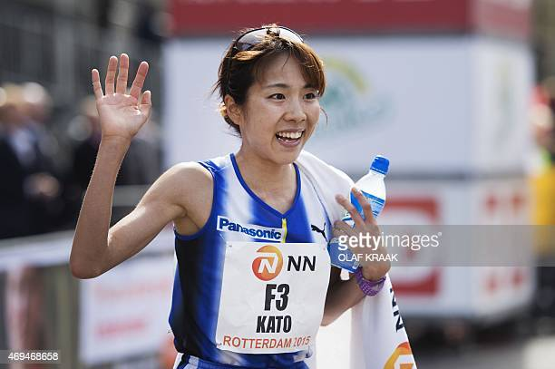 Asami Kato from Japan reacts after winning as fastest women the Rotterdam Marathon in Rotterdam on April 12 2015 AFP PHOTO / ANP / OLAF KRAAK...