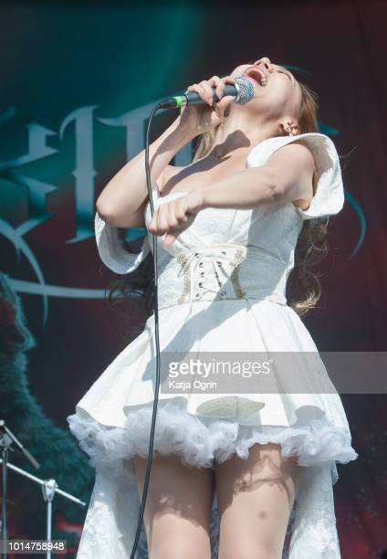 Asami of Lovebites performs at Bloodstock Festival at Catton Hall on August 10 2018 in Burton Upon Trent England
