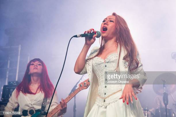 Asami of Lovebites performs on stage during day 2 of Download festival 2019 at Donington Park on June 14 2019 in Castle Donington England
