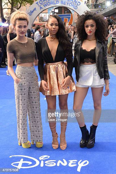 Asami Zdrenka Amira McCarthy and Shereen Cutkelvin of Neon Jungle attend the Tomorrowland A World Beyond European premiere at Leicester Square on May...