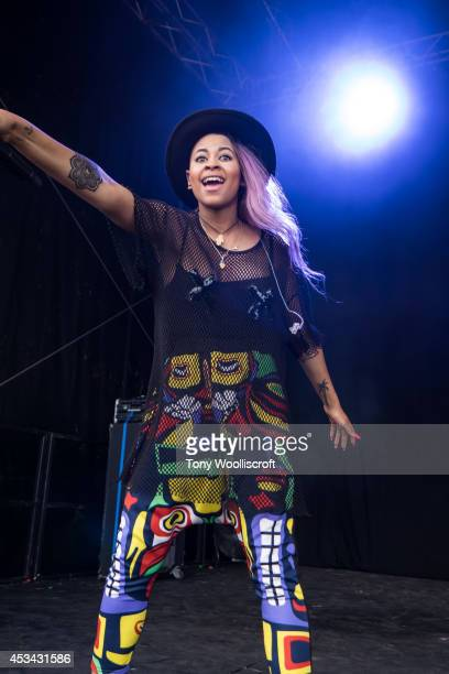 Asami Zdrenka of Neon Jungle performs at Osfest on August 9 2014 in Oswestry England
