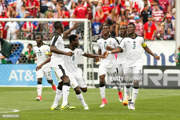 Asamoah Gyan forward for Ghana celebrates his goal with his teammates during the USA vs Ghana friendly soccer match on July 1 2017 at Pratt Whitney...