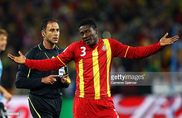Asamoah Gyan of Ghana gestures during the 2010 FIFA World Cup South Africa Quarter Final match between Uruguay and Ghana at the Soccer City stadium...