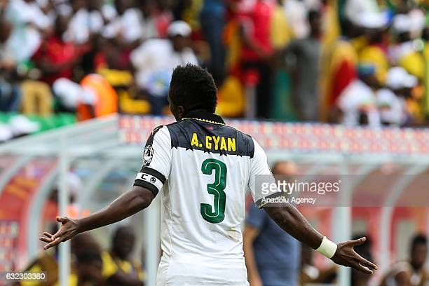 Asamoah Gyan of Ghana gestures during the African Cup of Nations 2017, Group D football match between Ghana and Mali at Port-Gentil Stadium in...