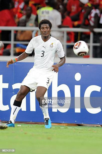 Asamoah Gyan of Ghana looks on during the Africa Cup of Nations semi final match between Ghana and Nigeria from the November 11 Stadium on January...