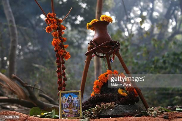 A Asan of a Sadhu in Pashupati Nath temple Kathmandu Nepal on February 26 2006 Maha Shivaratri the night of Lord Shiva to celebrated the festivals...